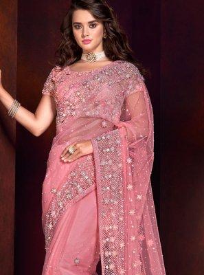 Net Pink Patch Border Classic Designer Saree