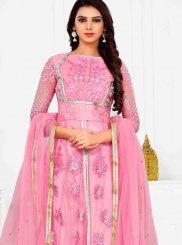 Net Pink Patchwork Anarkali Salwar Suit