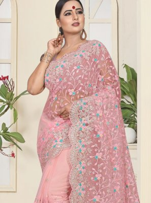 Net Pink Trendy Saree