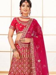 Net Pink Zari Designer Lehenga Choli