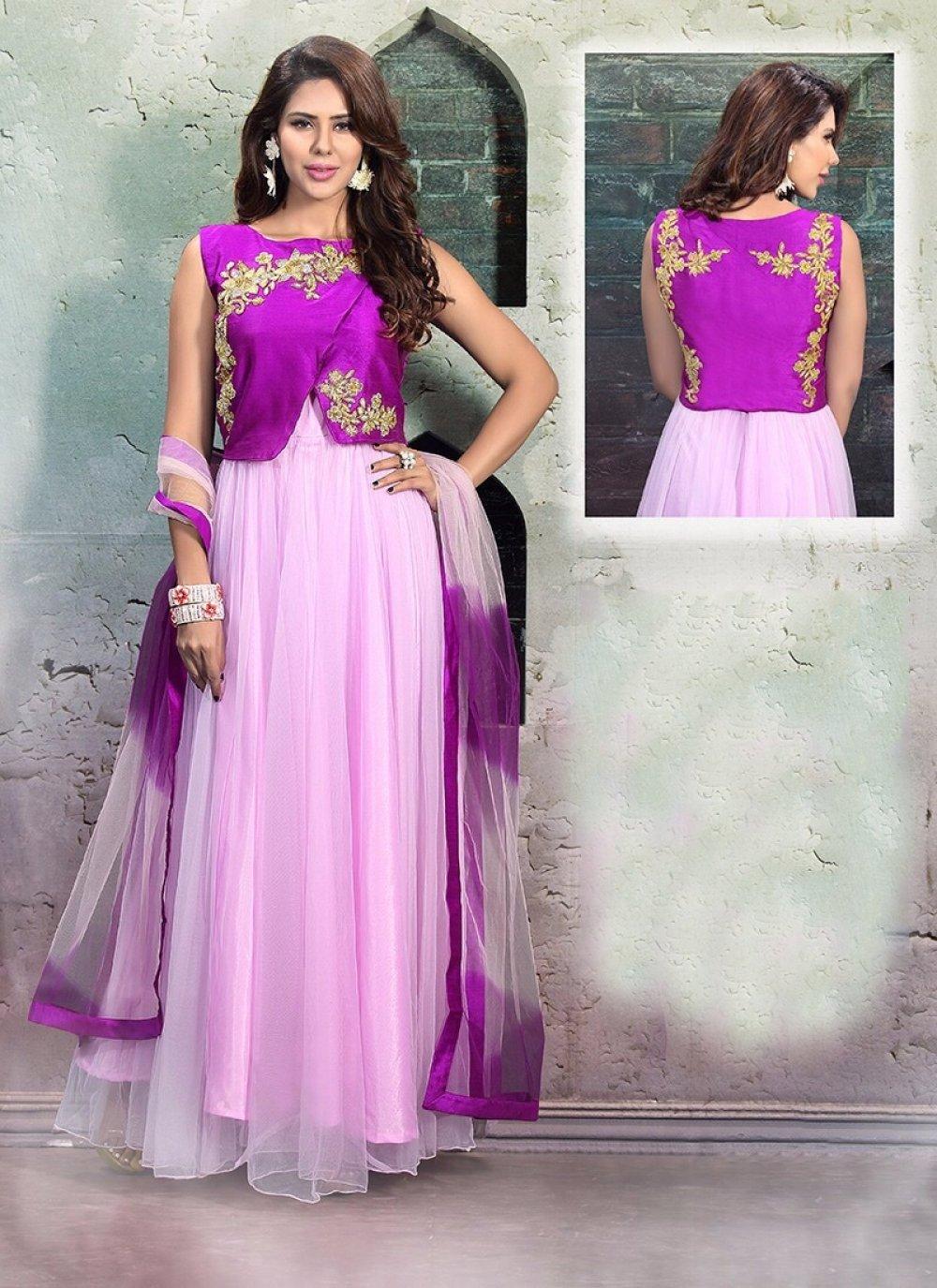 Net Purple Cutdana Work Anarkali Salwar Suit