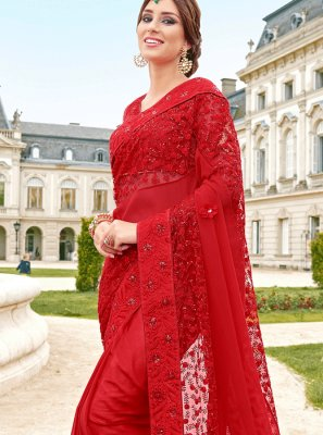 Net Red Classic Saree