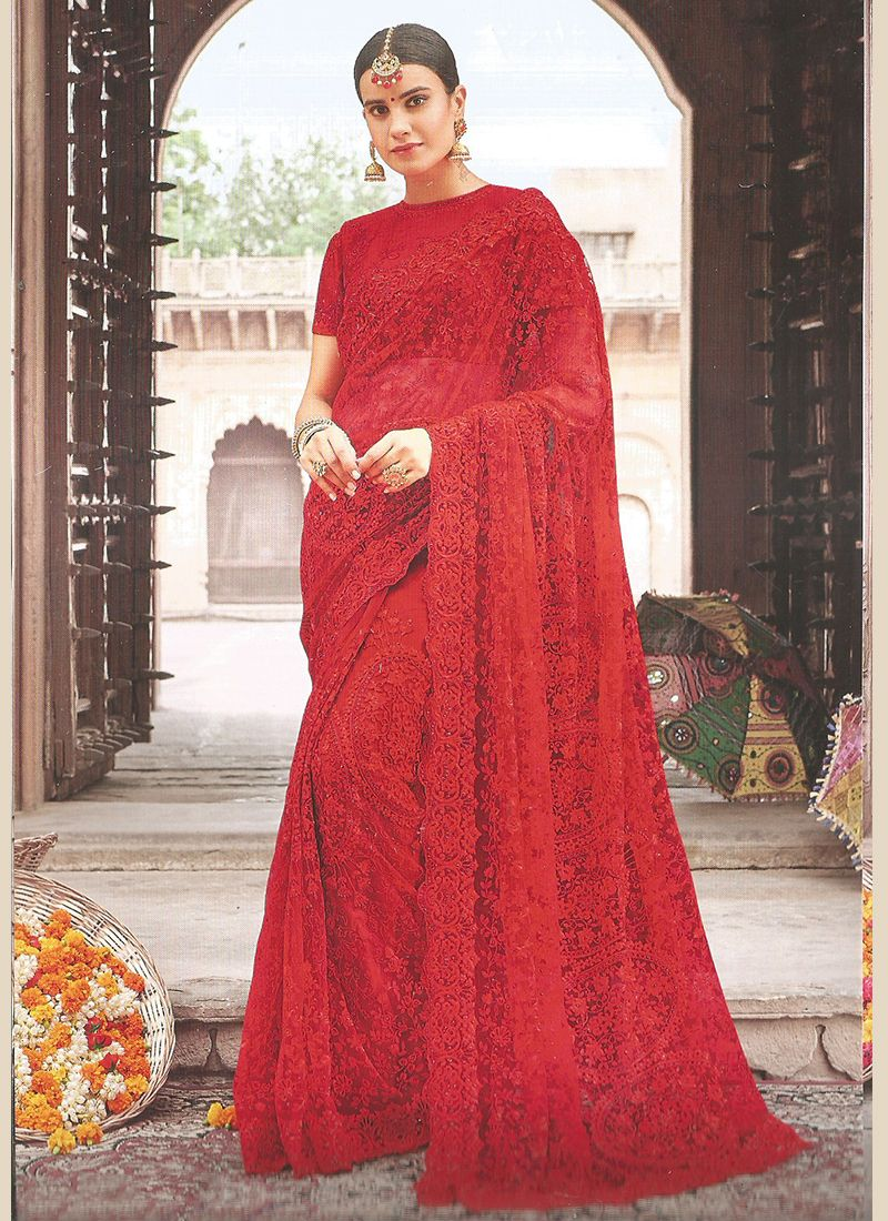 Net Red Embroidered Classic Saree