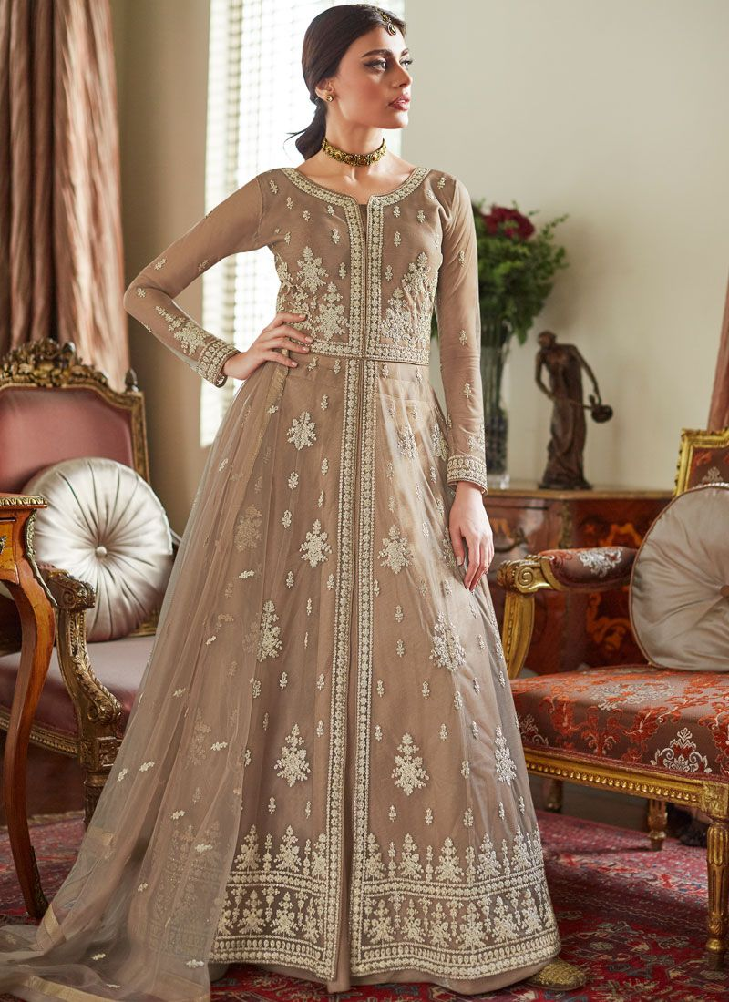 Net Resham Beige Long Choli Lehenga