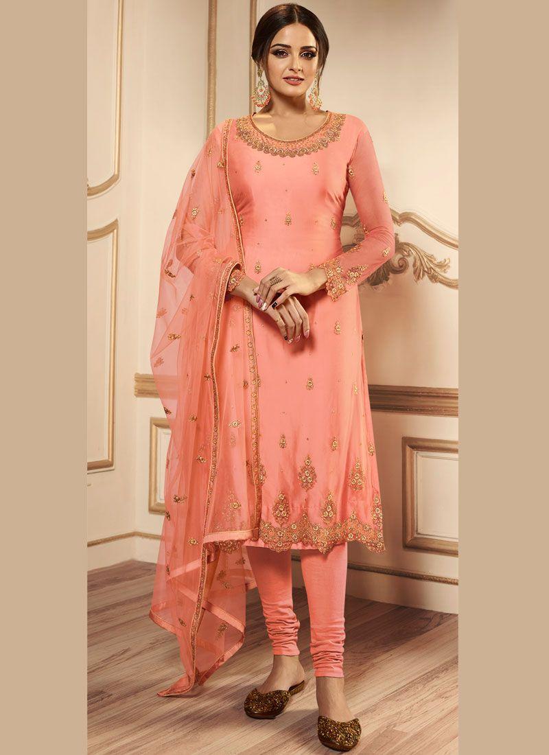 Net Resham Churidar Designer Suit