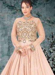 Net Resham Designer Gown in Beige