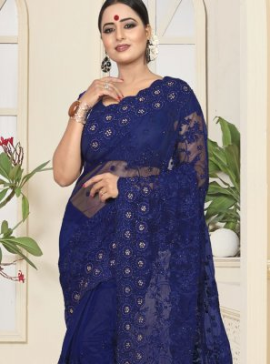 Net Resham Designer Saree in Navy Blue