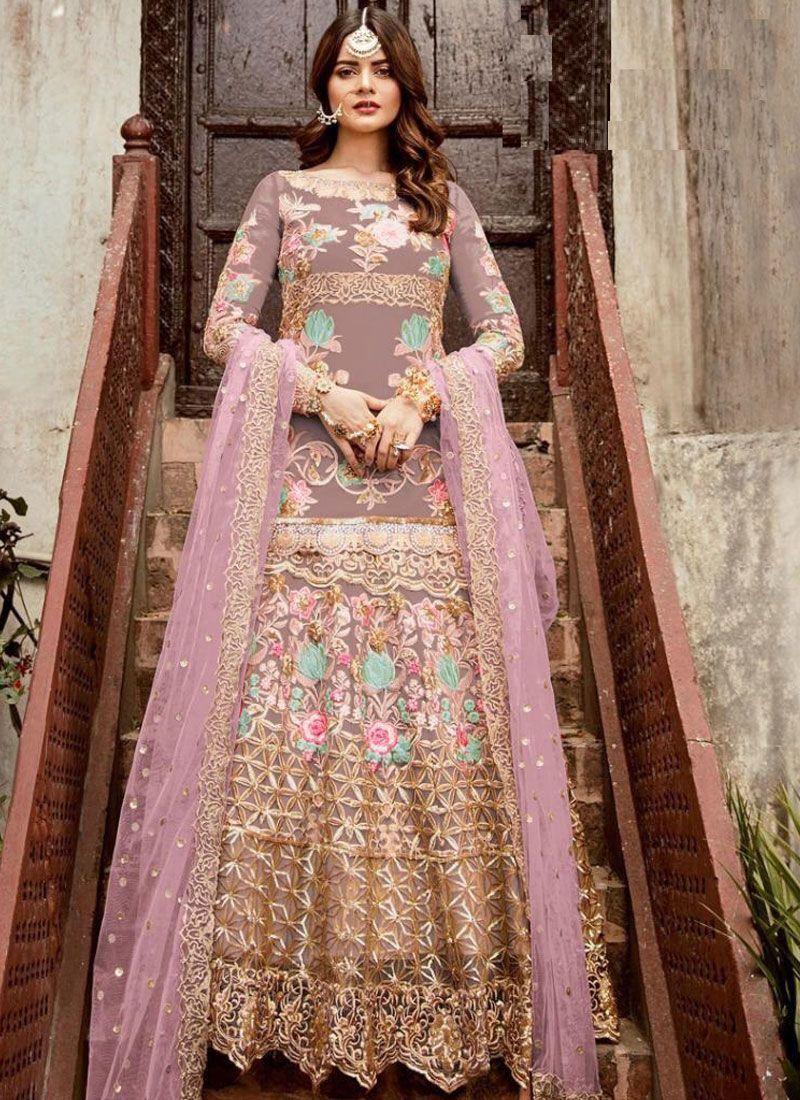 Net Resham Floor Length Anarkali Suit in Pink