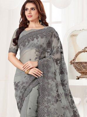 Net Resham Grey Classic Designer Saree