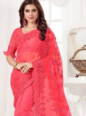 Net Resham Hot Pink Traditional Designer Saree