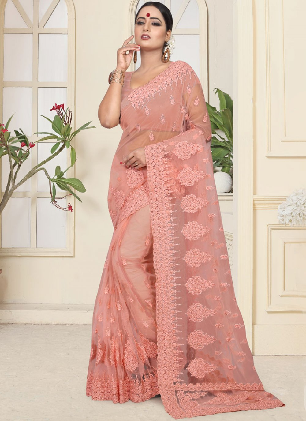 Net Resham Peach Trendy Saree