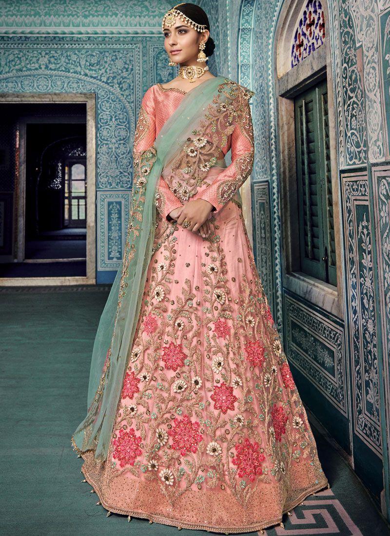 Shop Online Net Resham Pink Lehenga Choli 100194