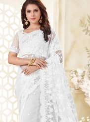 Net Resham White Traditional Saree