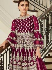 Net Resham Wine Designer Pakistani Suit