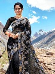 Net Saree in Black