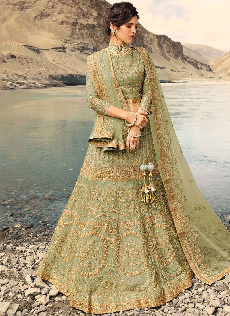 Net Sea Green Embroidered Designer Lehenga Choli