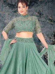 Net Sea Green Embroidered Trendy A Line Lehenga Choli