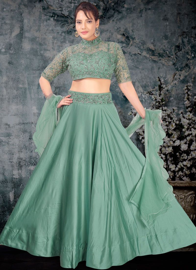 Net Sea Green Embroidered Trendy A Line Lehenga Choli