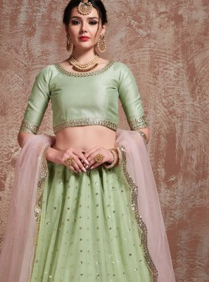 Net Sea Green Zari Trendy Lehenga Choli