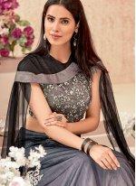 Net Trendy A Line Lehenga Choli in Beige and Grey