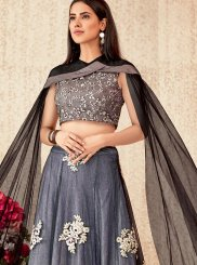 Net Trendy A Line Lehenga Choli in Beige and Grey