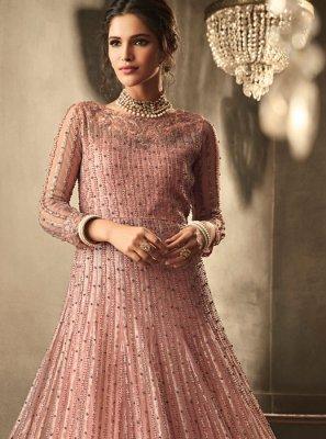 Net Trendy Anarkali Salwar Kameez in Pink