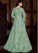 Net Turquoise Embroidered Trendy Anarkali Salwar Kameez