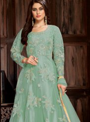 Net Turquoise Embroidered Trendy Anarkali Salwar Kameez