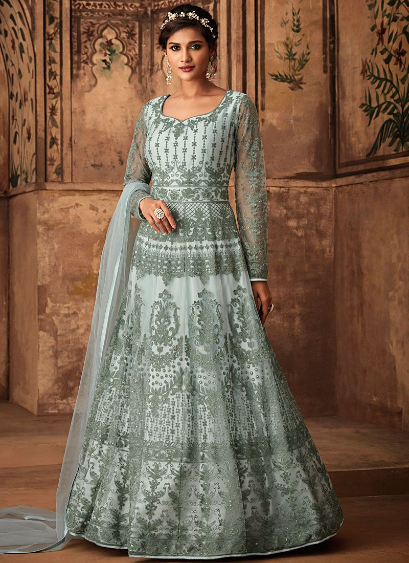 Net Wedding Floor Length Anarkali Suit
