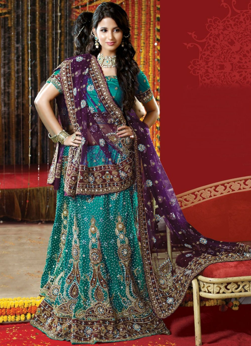 Net Wedding Lehenga Choli