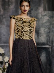 Net Zari Black Trendy Gown