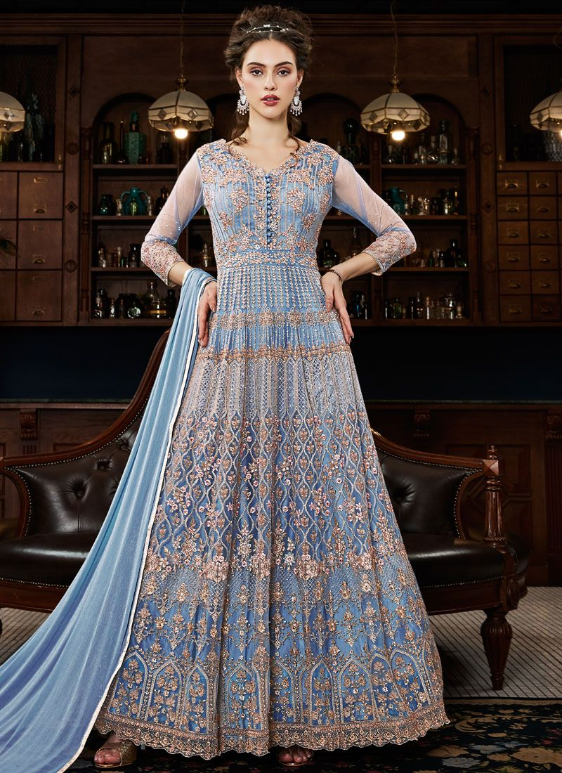 Net Zari Blue Anarkali Salwar Kameez