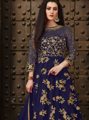 Net Zari Blue Anarkali Salwar Suit