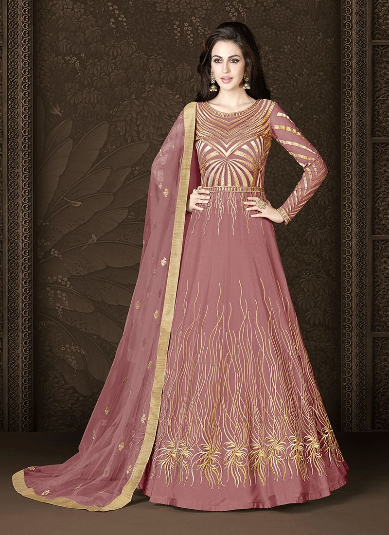 Net Zari Floor Length Anarkali Suit