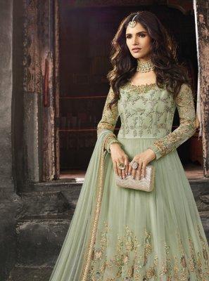 Net Zari Green Anarkali Salwar Kameez