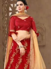 Net Zari Red Designer Lehenga Choli