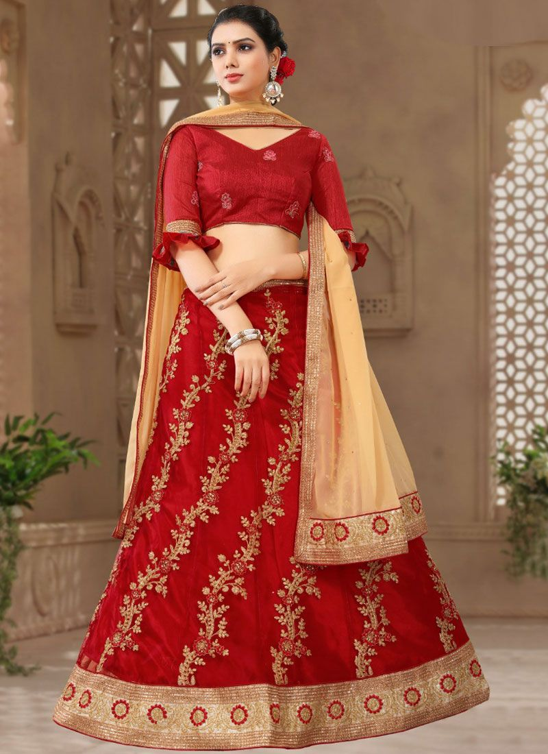 Net Zari Red Designer Lehenga Choli