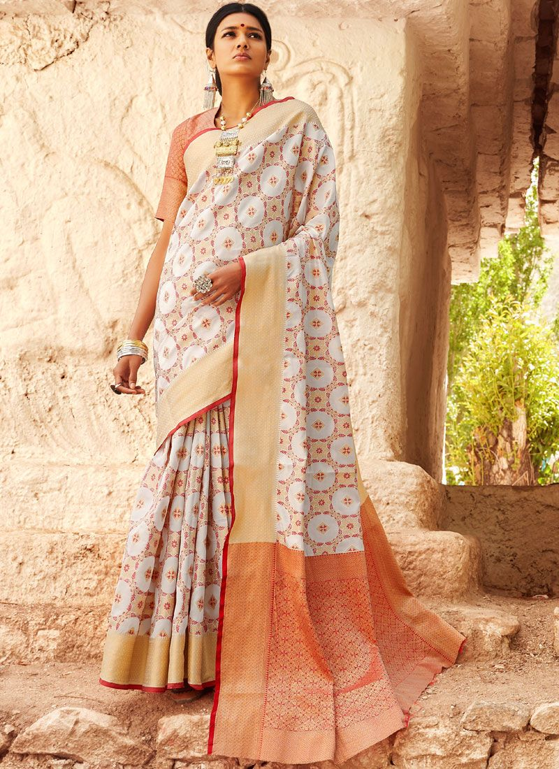 Off White Abstract Print Ceremonial Classic Saree