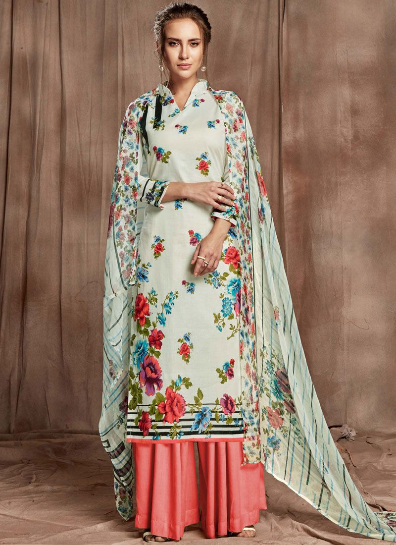 Off White and Rose Pink Cotton Designer Palazzo Salwar Suit