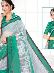 Off White and Sea Green Printed Saree