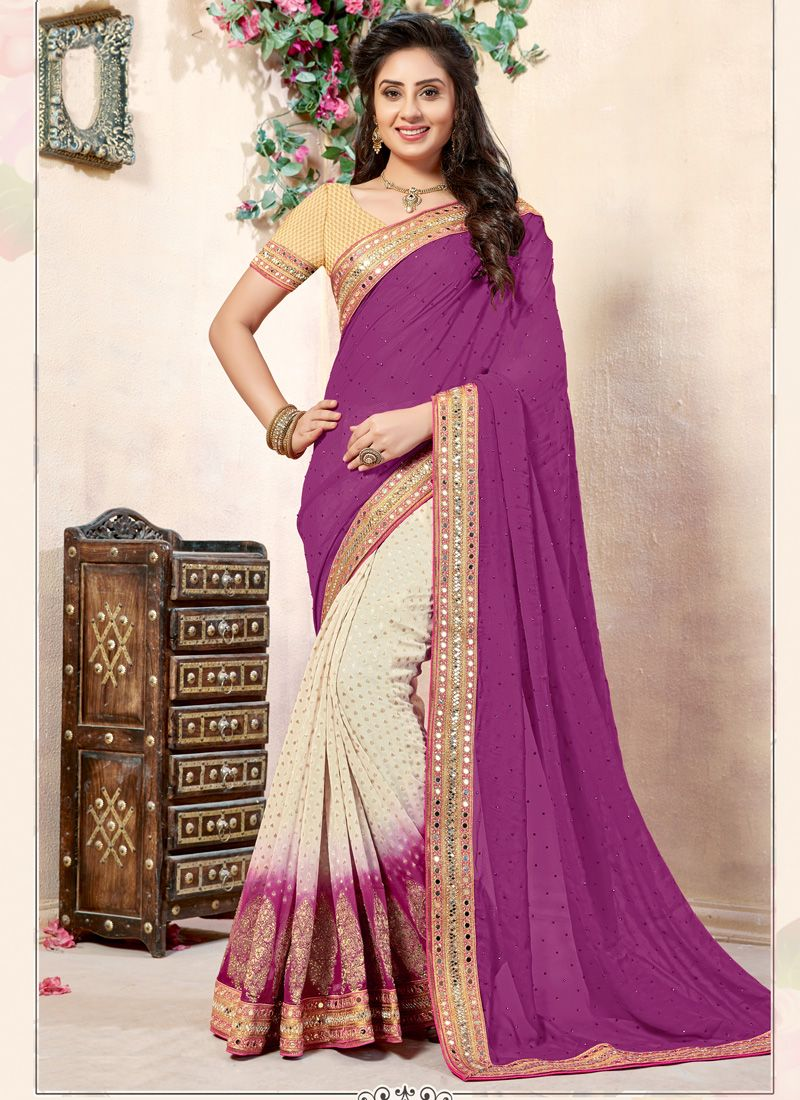 Off White and Violet Viscose Half N Half  Saree