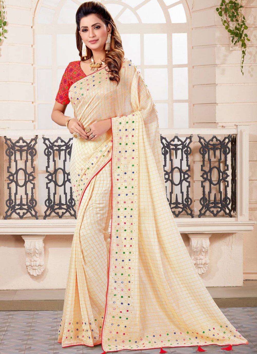 Off White Art Silk Designer Traditional Saree