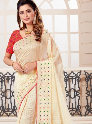 Off White Art Silk Designer Traditional Saree