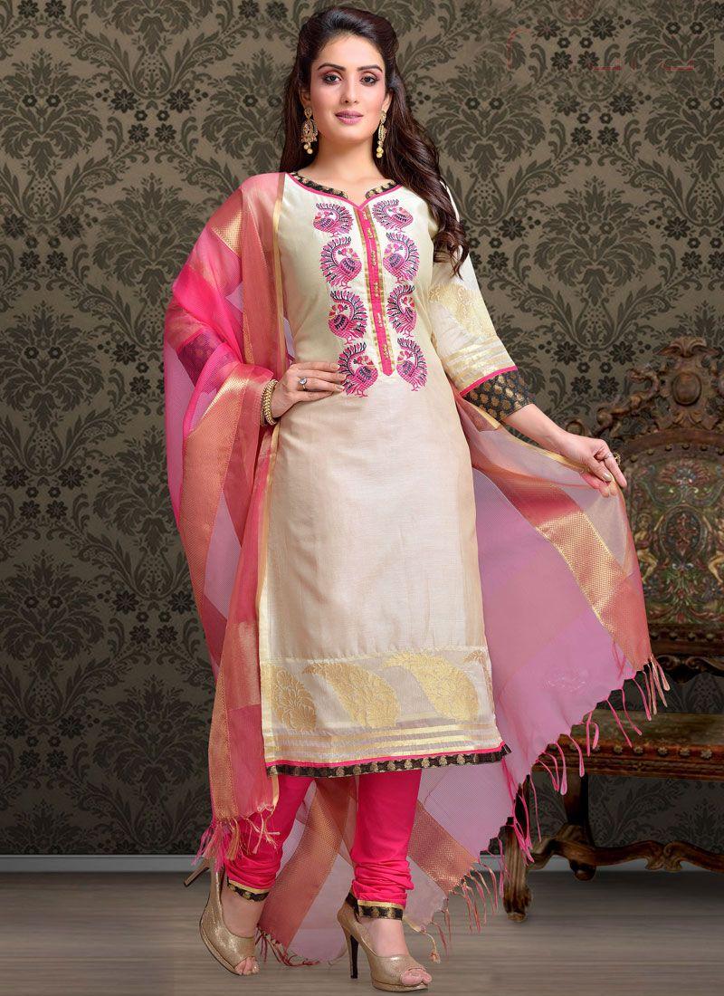 Off White Ceremonial Churidar Salwar Suit