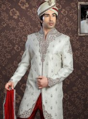 Off White Ceremonial Jacquard Sherwani