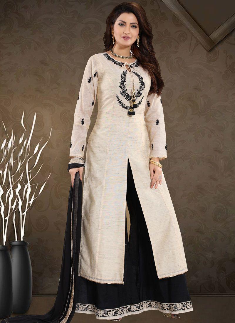 Off White Chanderi Palazzo Designer Suit