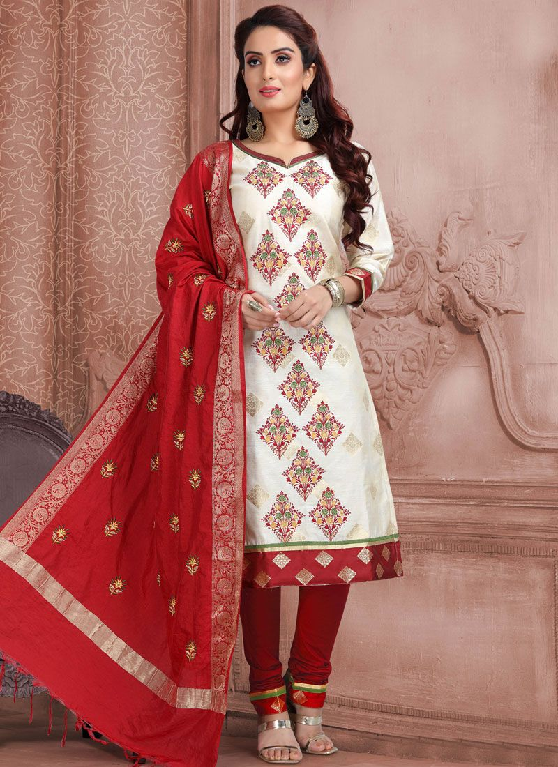 Off White Color Churidar Designer Suit