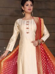 Off White Color Churidar Salwar Kameez