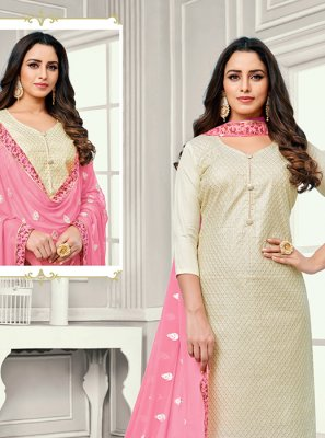 Off White Cotton Satin Salwar Kameez