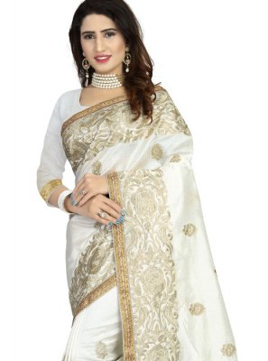 Off White Embroidered Art Silk Classic Designer Saree